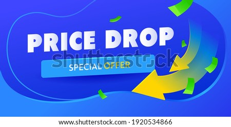 Price drop blue banner template. Arrow down cheaper campaign poster. Vector Stockfoto ©