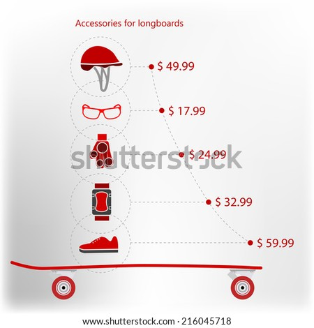 Price for accessories for longboarding. Flat vector illustration of longboard a side view with price for accessories for longboarding or other extreme sport.