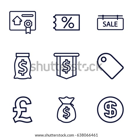 Price icons set. set of 9 price outline icons such as sale tag, bill of house sell, dollar coin, money sack, ticket on sale, dollar sign, pound
