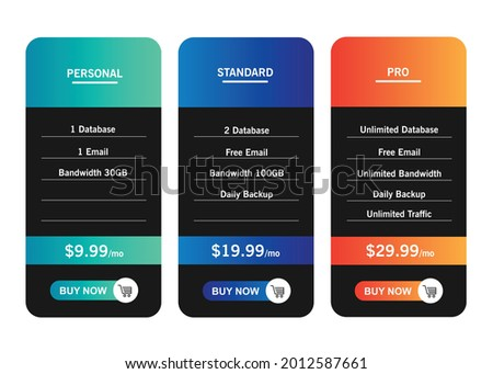 Price list comparison. 3 featured price list tables for Personal, Standard and Professional tariff banners. Vector illustration Foto stock ©