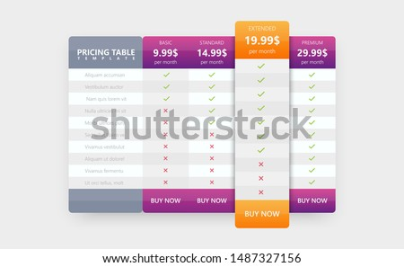Price list for website. Interface elements