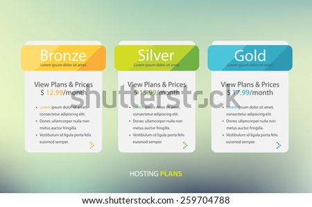 Price list, hosting plans and web boxes banners design.