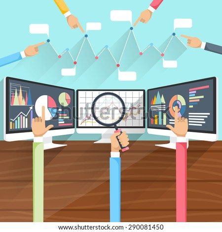 Price movement. Stock exchange rates on monitors with hands. Profit graph for diagram. Electronic stock numbers. Profit gain. Business stock exchange. Live online screen. Flat icon modern design
