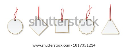 Price or label tags mockup template set. Blank cards with red strings for gifts or sales with different shapes: round, rectangle, square. Empty stickers with gold frames vector illustration. Stockfoto ©