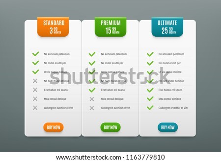 Price plans. Comparison infographic tab with 3 columns. Web table pricing plan with product prices chart tabs column checklist business website vector infographics template