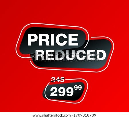 Price Reduced banner - creative decorated mesage on red background - crossed old price and the cheaper one - vector promo poster Stockfoto ©