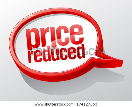 Price reduced red shiny speech bubble.