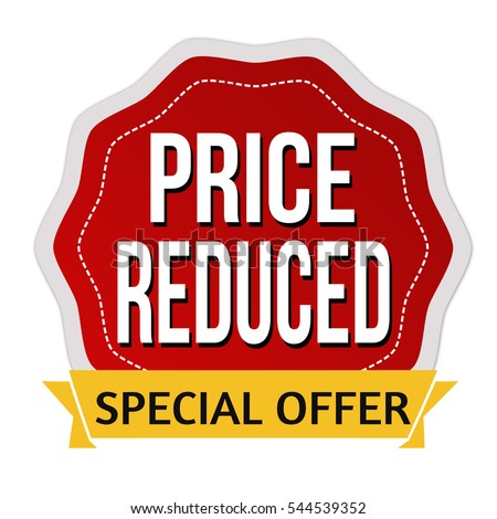 Price reduced sticker or label on white background, vector illustration