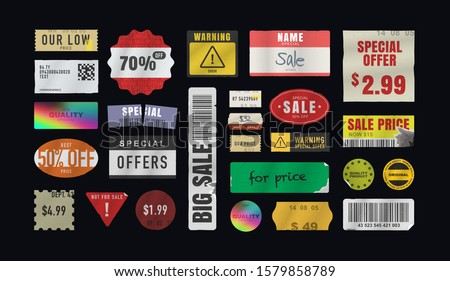 Price stickers. Peeled Paper Stickers. Price Tag. Vector illustration
