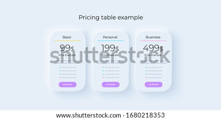 Price table concept in realistic neumorphism vector design. Pricing or subscription plan ui web elements. Website marketing or promotion interface template. Product comparison table.