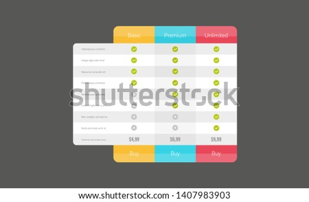 Price table /price comparison table/ price list vector template for website