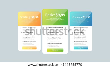 Price table. Price list for web site