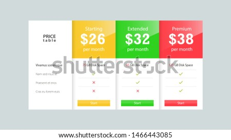 Price table / Price list of services for you web site