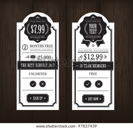 price table vintage web and...