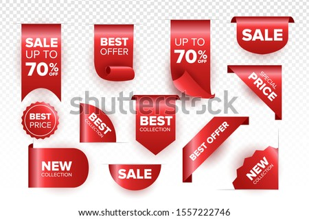 Price tag and best sale collection vector template. Red ribbon vector