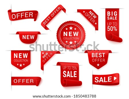 Price tag, corner, scroll, ribbon, rosette with stars set. Red promotion action, marketing elements. Best offer, big sale, new collection, up to. Vector collection isolated on white background. Stockfoto ©