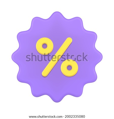 Price tag 3d with percent symbol. Purple starburst sticker clearance sale with discounts. Advertising marketing for promotion product sales. Special commercial bonuses. Vector icon isolated template