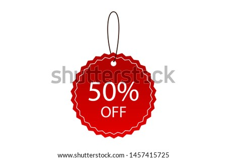 Price tag for 50% discount promotion. Shopping tags line icon. Special offer sign. Discount coupons symbol. Discount tags Vector.