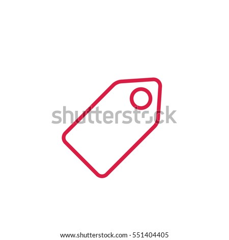 price tag sale sign label line red icon on white background