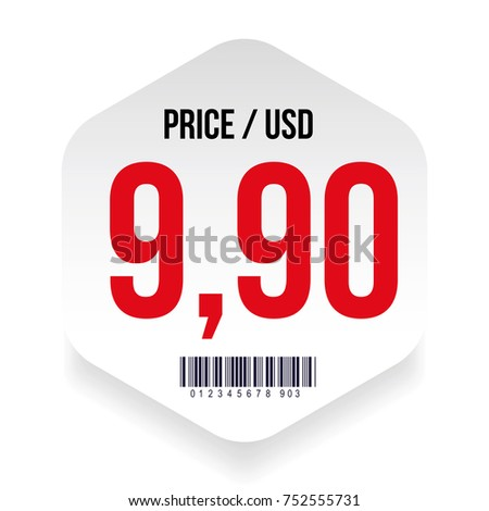 Price tag with barcode vector