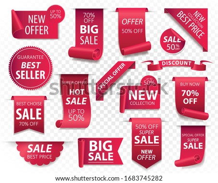 Price tags, red ribbon banners. Sale promotion, website stickers, new offer badge collection isolated. Vector illustration.