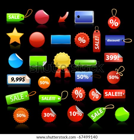 Price tags set on black background. Vector