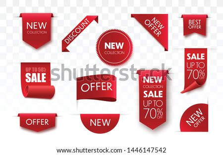 Price tags vector collection. Ribbon sale banners isolated. New collection offers.