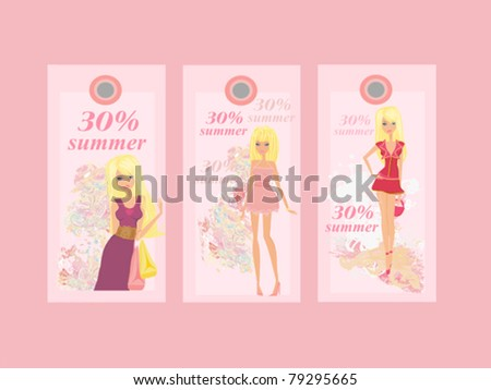 Price Tags With Fashion Girls vector set