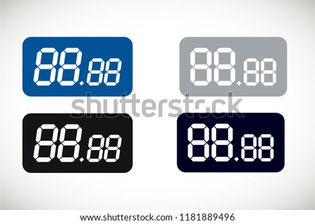 Price template for all numbers. Digital tag. Shape for writing or drawing cost of product. Store price labels for retail display. Vector illustration.
