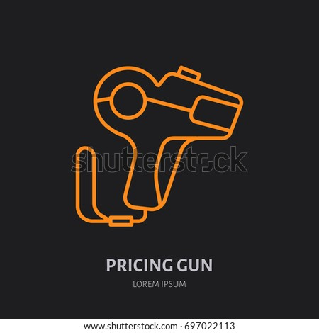 pricing gun vector flat line