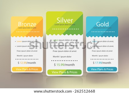 Pricing plans for websites and applications. Hosting banner, table. Vector illustration