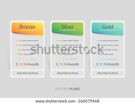 Pricing plans, table for websites and applications. Hosting banner. Vector illustration