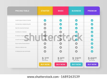 Pricing tab. Comparison pricing list, services cost table. Menu planning compare products with tariff plans in column infographics vector template ストックフォト ©