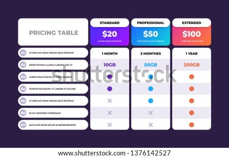 Pricing table. Comparison business web plans, column grid design template, price chart banner. Vector compare checklist price chart