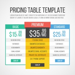 Pricing table template. Creative graphic design. Vector illustration.