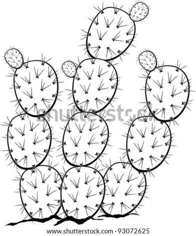 prickly pear or nopal plant stock vector illustration