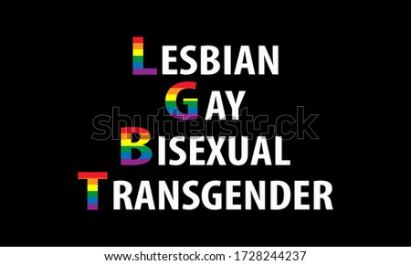 Pride Celebrating LGBT culture symbol. LGBT flag colours typography design.LGBT Pride Month in June. Lesbian Gay Bisexual Transgender. Poster, card, banner and background. Vector ilustration
