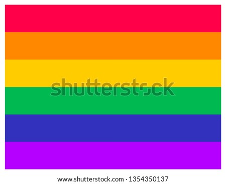 Pride Flag Icon. LGBTQ+ related symbol in rainbow colors. Gay Pride. Raibow Community Pride Month. Love, Freedom, Support, Peace Symbol. Flat Vector Design Isolated on White Background