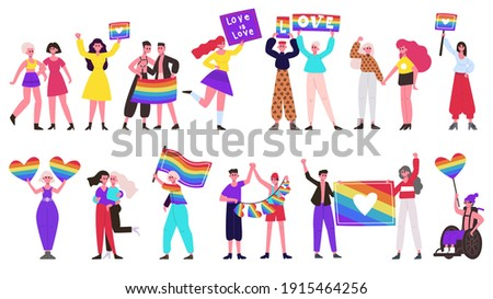 Pride parade. Lgbtq community movement, lesbian, gay, bisexual and transgender people group with rainbow flags and hearts. Love parade vector illustration set. Lgbtq rainbow freedom parade for rights