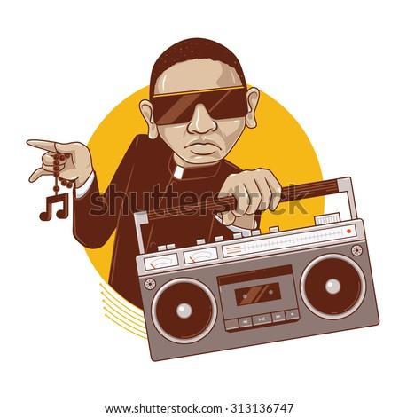 priest boy enjoying music a