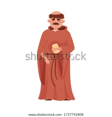 Priest or Monk Wearing Brown Hooded Gown Vector Illustration. Foto stock ©