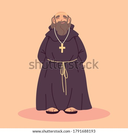 priest or monk wearing brown hooded gown vector illustration design Foto stock ©