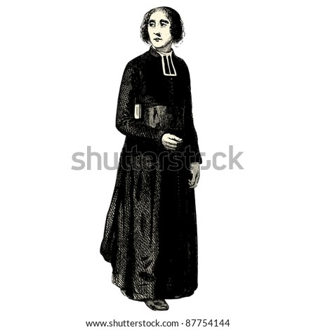 "Priest - Vintage engraved illustration - ""Les Français"" by L.Curmer in 1842 France"