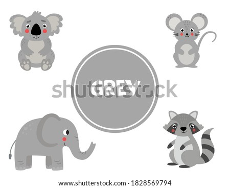 Primary colors learning for children. Cute pictures in gray color. Educational game for kids. Activity pages for homeschool education. Practicing colors. Photo stock ©