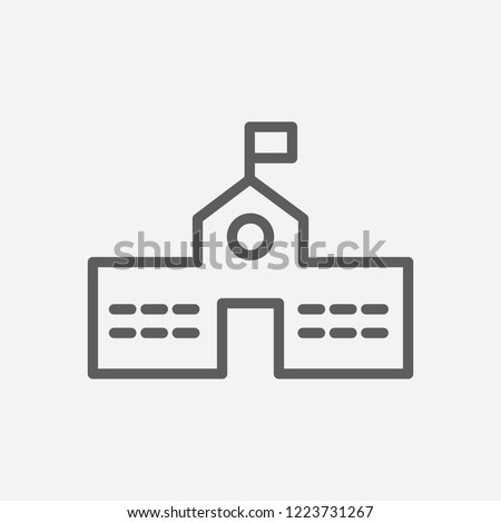 Primary school icon line symbol. Isolated vector illustration of  icon sign concept for your web site mobile app logo UI design.
