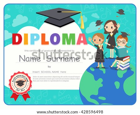 Primary School Kids Graduation Diploma certificate background design template