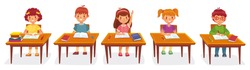 Primary school pupils sit at desk. Elementary education, children writing in copybook, raising hand to answer. Kids getting knowledge on lesson in class. Learning process vector illustration