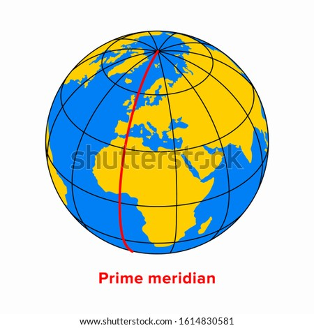 Prime meridian, longitude 0 line in a geographic coordinate system Stockfoto ©
