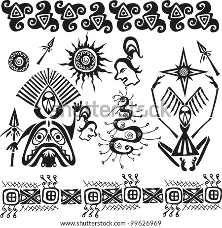 primitive african pagan figures and symbols