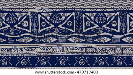 primitive folk scandinavic border seamless pattern